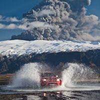 Eyjafjallajokull volcano with superjeep