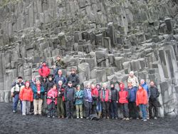 Group at basalt columns, Reynishverfi