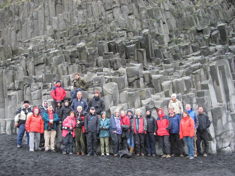 Group at basalt columns, Reynishverfi