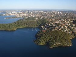 Aerial views over Sydney