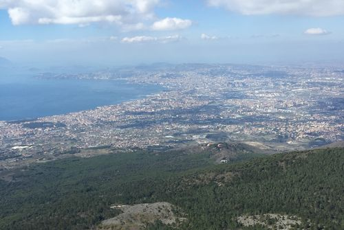 Naples from Mt Vesuvius, with Campi Flegrei in the distance