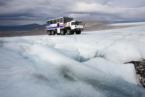 Journey across the ice-cap in a 8WD glacier truck