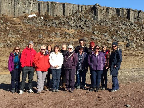 The team at the basalt columns of Gerduberg