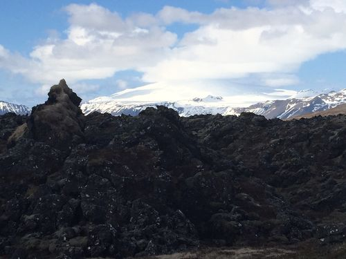Snaefellsjokull and lava fields on the Snaefellsness Peninsula