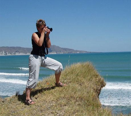 Taking photos on Mahia Peninsula
